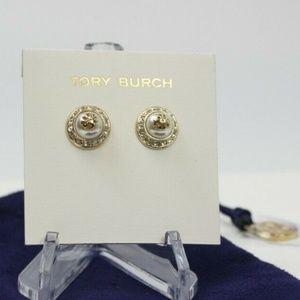 Domed Logo Pearl Crystal Tone Stud Earrings